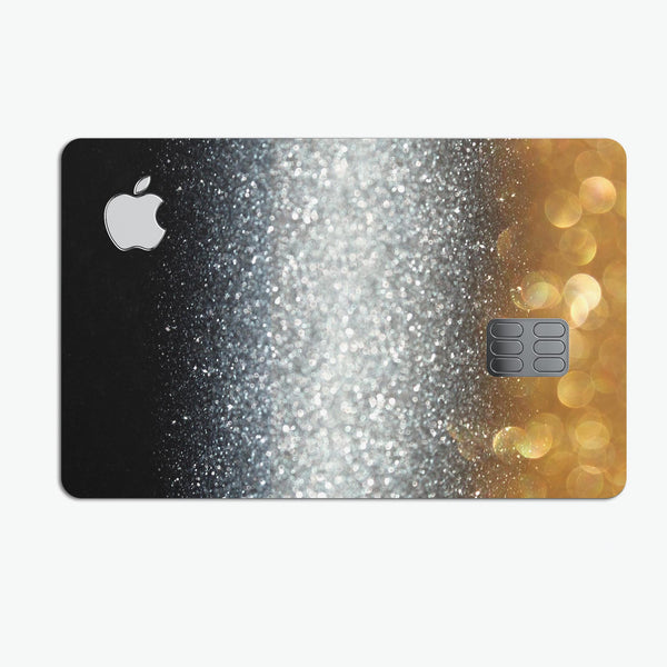 Unfocused Silver Sparkle with Gold Orbs - Premium Protective Decal Skin-Kit for the Apple Credit Card