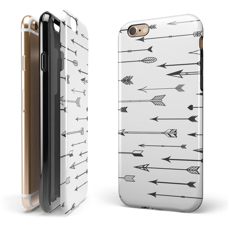 Vector Black Arrows iPhone 6/6s or 6/6s Plus 2-Piece Hybrid INK-Fuzed Case