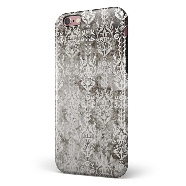 Verticle Black and White Damask Pattern iPhone 6/6s or 6/6s Plus 2-Piece Hybrid INK-Fuzed Case