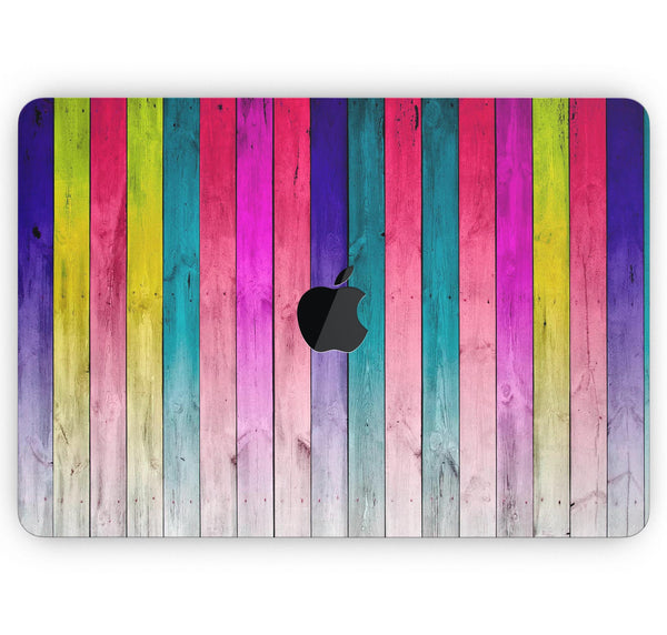 "Vibrant Neon Colored Wood Strips - Skin Decal Wrap Kit Compatible with the Apple MacBook Pro, Pro with Touch Bar or Air (11"", 12"", 13"", 15"" & 16"" - All Versions Available)"