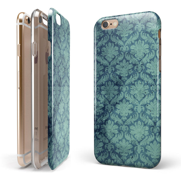 Vintage Aqua Rococo Pattern iPhone 6/6s or 6/6s Plus 2-Piece Hybrid INK-Fuzed Case