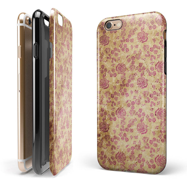 Vintage Brown and Maroon Floral Pattern iPhone 6/6s or 6/6s Plus 2-Piece Hybrid INK-Fuzed Case