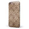 Vintage Brown and Pale Orange Damask Pattern iPhone 6/6s or 6/6s Plus 2-Piece Hybrid INK-Fuzed Case