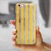 Vintage Brown and Yellow Vertical Stripes iPhone 6/6s or 6/6s Plus 2-Piece Hybrid INK-Fuzed Case