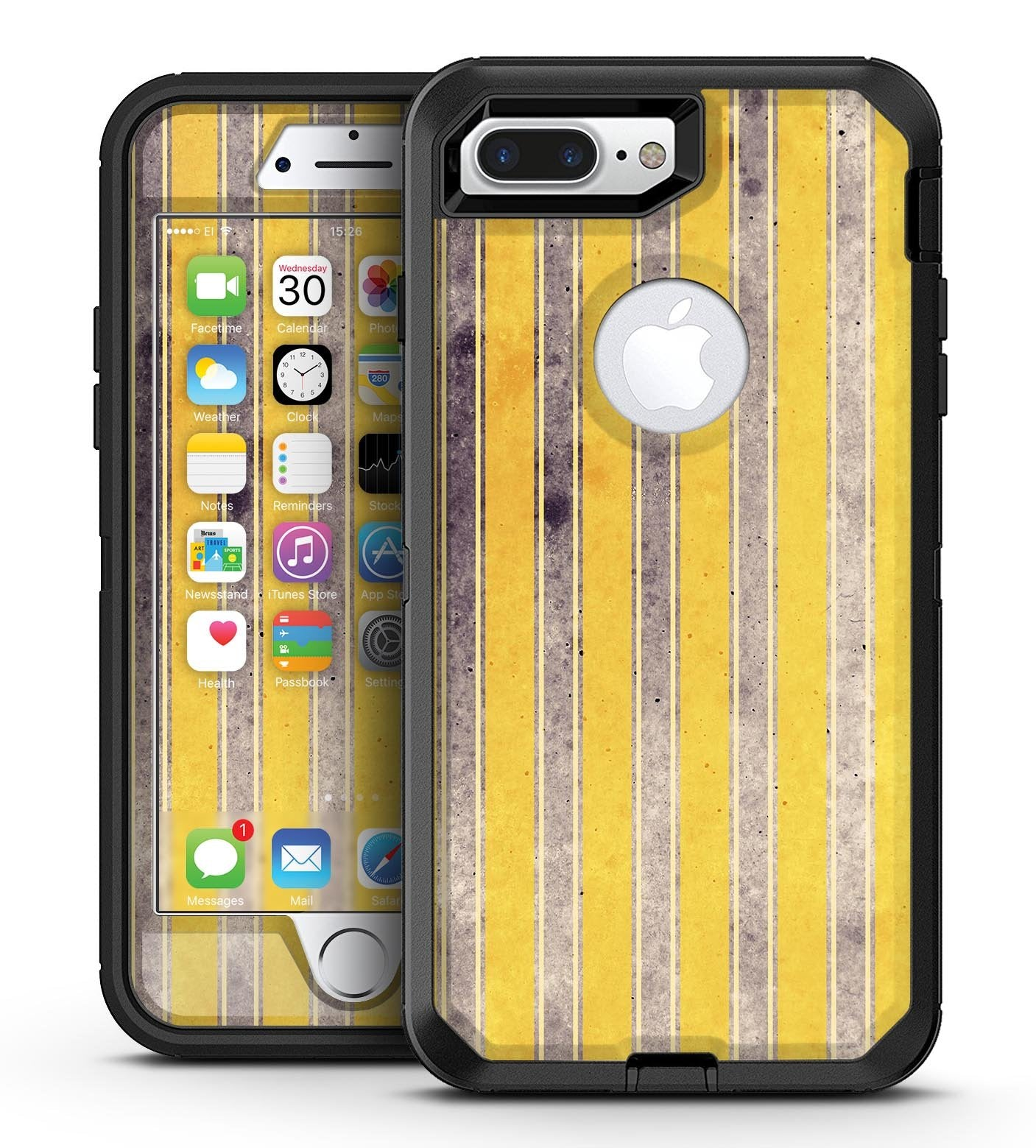 Vintage Brown and Yellow Vertical Stripes - iPhone 7 Plus/8 Plus OtterBox Case & Skin Kits