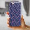 Vintage Coral Floral Over Navy  iPhone 6/6s or 6/6s Plus 2-Piece Hybrid INK-Fuzed Case