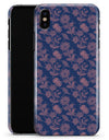 Vintage Coral Floral Over Navy  - iPhone X Clipit Case