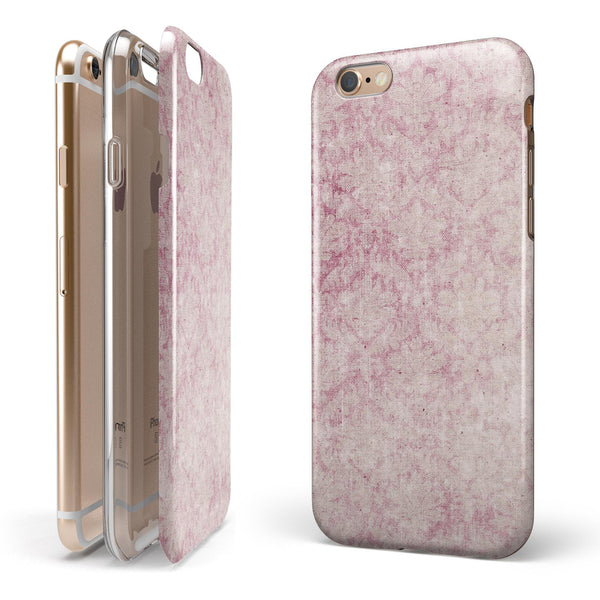Vintage Faded Magenta Damask Pattern iPhone 6/6s or 6/6s Plus 2-Piece Hybrid INK-Fuzed Case