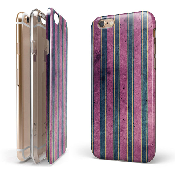 Vintage Green and Purple Verticle Stripes iPhone 6/6s or 6/6s Plus 2-Piece Hybrid INK-Fuzed Case