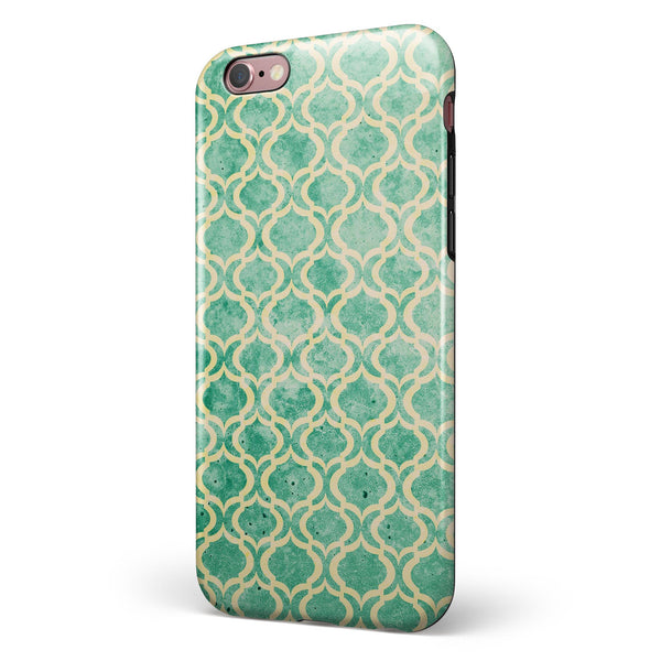 Vintage Green and Yellow Oval Pattern iPhone 6/6s or 6/6s Plus 2-Piece Hybrid INK-Fuzed Case