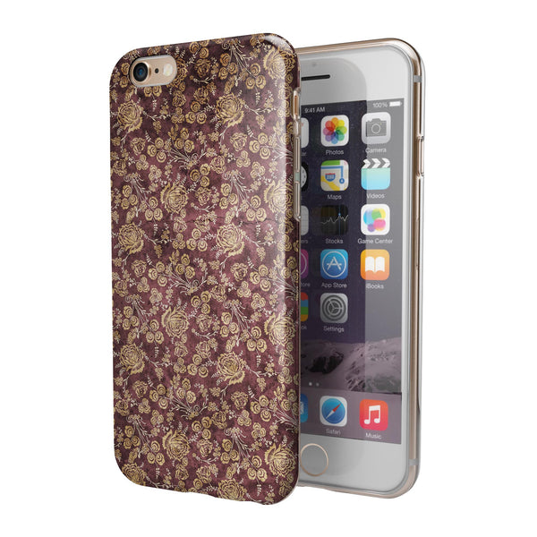 Vintage Maroon and Yellow Rose Pattern iPhone 6/6s or 6/6s Plus 2-Piece Hybrid INK-Fuzed Case