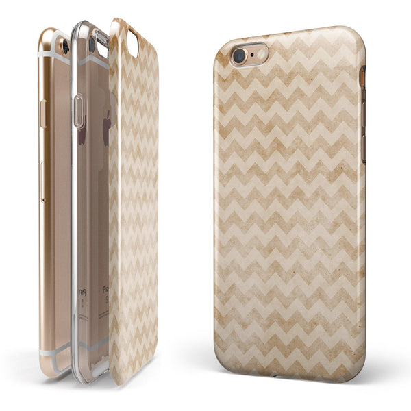 Vintage Orange and White Chevron Pattern iPhone 6/6s or 6/6s Plus 2-Piece Hybrid INK-Fuzed Case