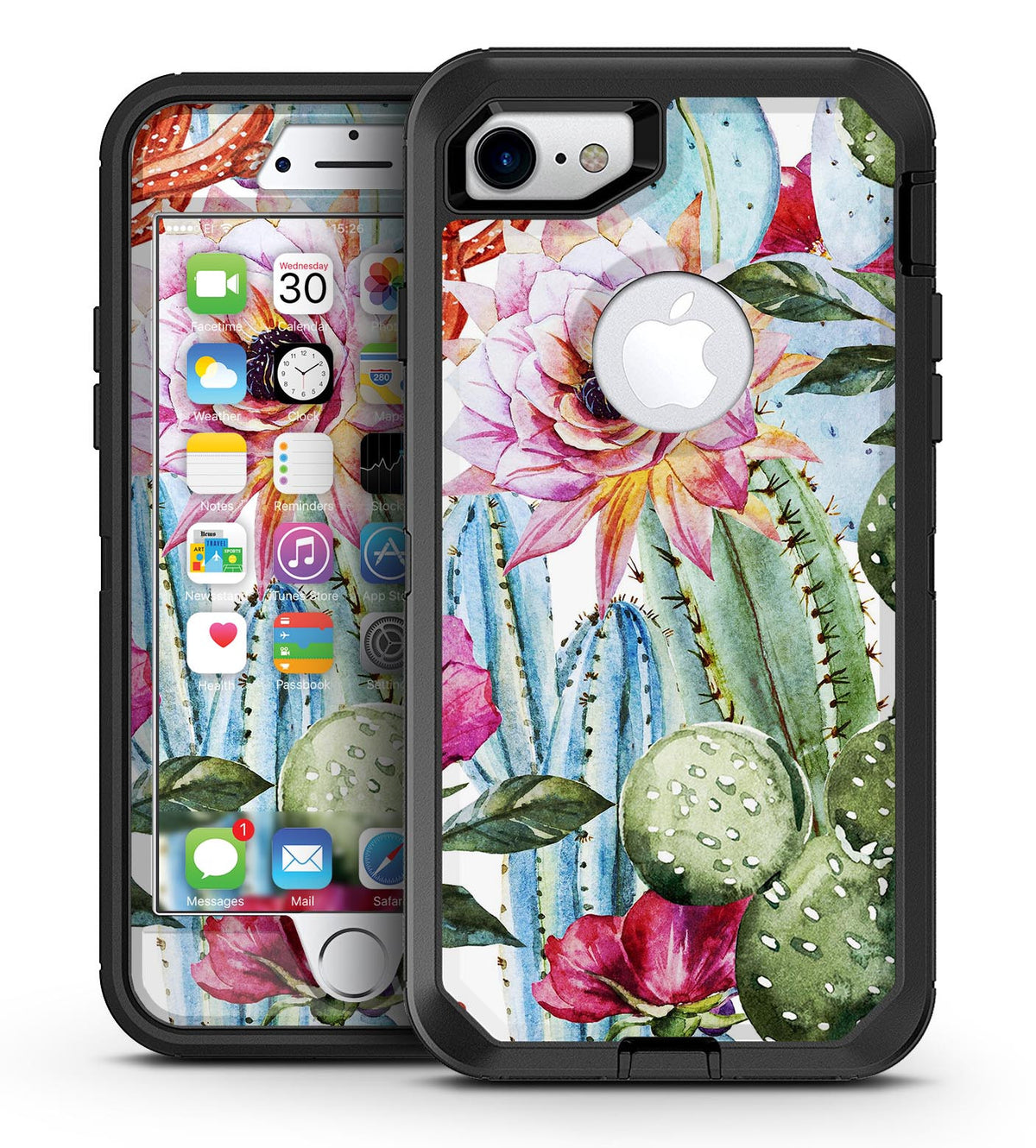 size 40 97b2f 45072 Vintage Watercolor Cactus Bloom - iPhone 7 or 7 Plus OtterBox Defender Case  Skin Decal Kit