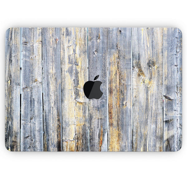 "Vintage Wooden Planks with Yellow Paint - Skin Decal Wrap Kit Compatible with the Apple MacBook Pro, Pro with Touch Bar or Air (11"", 12"", 13"", 15"" & 16"" - All Versions Available)"