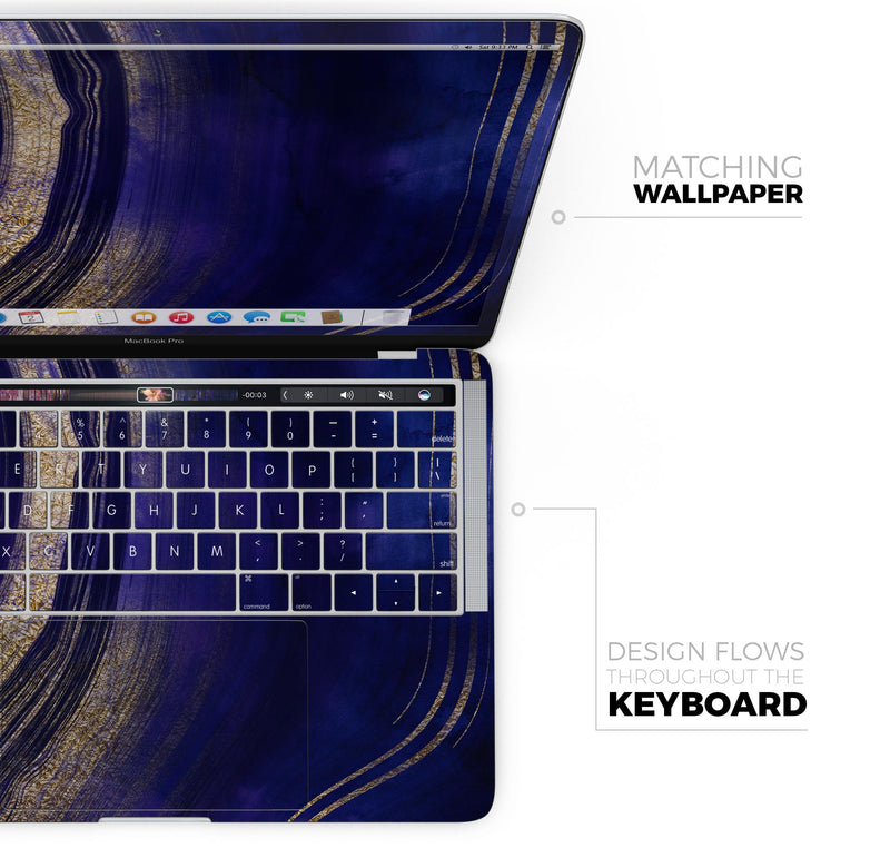 "Vivid Agate Vein Slice Blue V2 - Skin Decal Wrap Kit Compatible with the Apple MacBook Pro, Pro with Touch Bar or Air (11"", 12"", 13"", 15"" & 16"" - All Versions Available)"