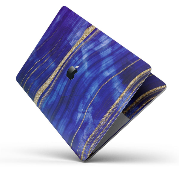"Vivid Agate Vein Slice Blue V6 - Skin Decal Wrap Kit Compatible with the Apple MacBook Pro, Pro with Touch Bar or Air (11"", 12"", 13"", 15"" & 16"" - All Versions Available)"