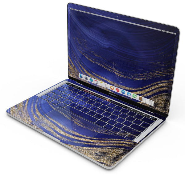 "Vivid Agate Vein Slice Blue V9 - Skin Decal Wrap Kit Compatible with the Apple MacBook Pro, Pro with Touch Bar or Air (11"", 12"", 13"", 15"" & 16"" - All Versions Available)"