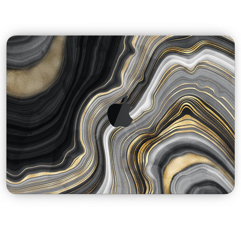 "Vivid Agate Vein Slice Foiled V13 - Skin Decal Wrap Kit Compatible with the Apple MacBook Pro, Pro with Touch Bar or Air (11"", 12"", 13"", 15"" & 16"" - All Versions Available)"