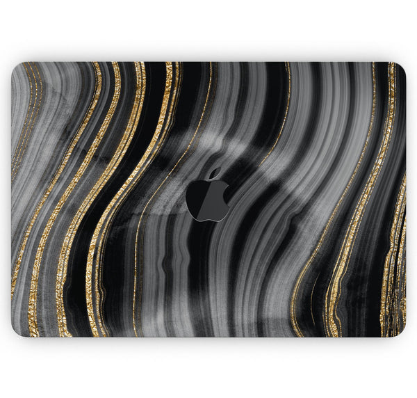 "Vivid Agate Vein Slice Foiled V4 - Skin Decal Wrap Kit Compatible with the Apple MacBook Pro, Pro with Touch Bar or Air (11"", 12"", 13"", 15"" & 16"" - All Versions Available)"