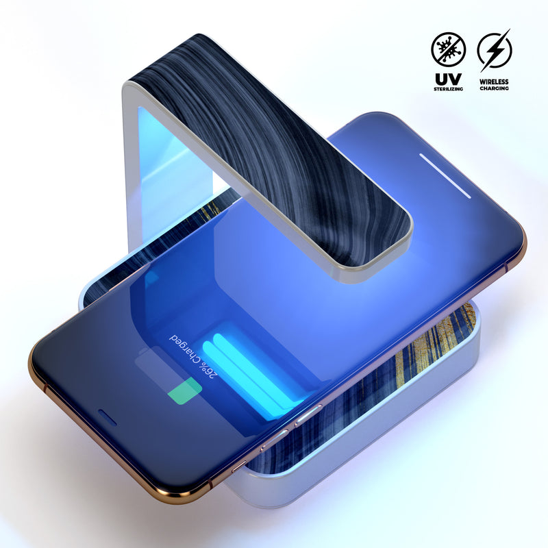 Vivid Agate Vein Slice Foiled V6 UV Germicidal Sanitizing Sterilizing Wireless Smart Phone Screen Cleaner + Charging Station