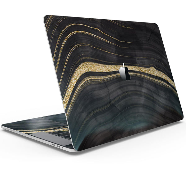 "Vivid Agate Vein Slice Foiled V9 - Skin Decal Wrap Kit Compatible with the Apple MacBook Pro, Pro with Touch Bar or Air (11"", 12"", 13"", 15"" & 16"" - All Versions Available)"