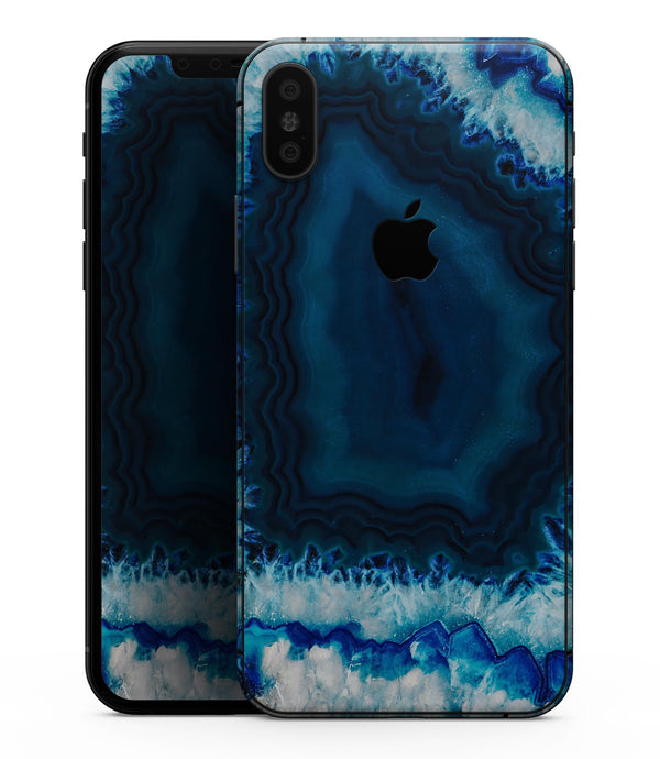 Vivid Blue Agate Crystal - iPhone XS MAX, XS/X, 8/8+, 7/7+, 5/5S/SE Skin-Kit (All iPhones Available)