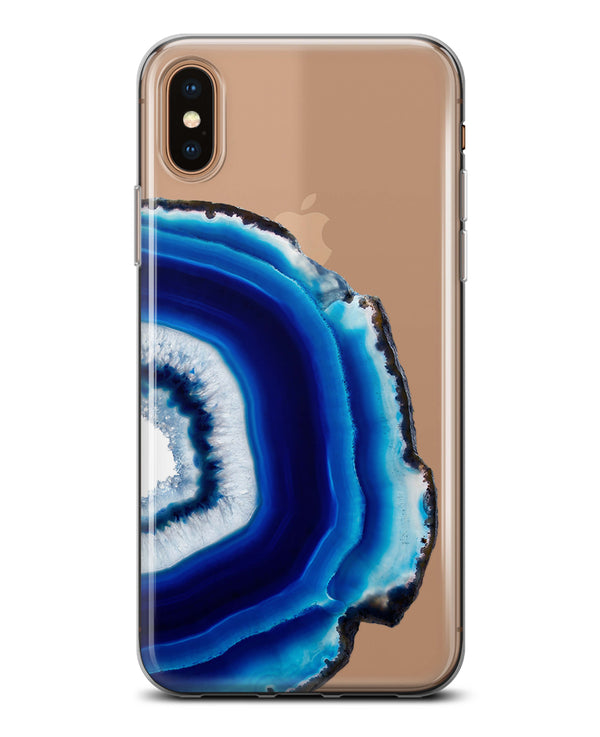 Vivid Blue Agate Slice V2 - Crystal Clear Hard Case for the iPhone XS MAX, XS & More (ALL AVAILABLE)