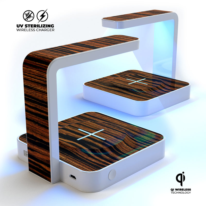Vivid Striped Wood V293 UV Germicidal Sanitizing Sterilizing Wireless Smart Phone Screen Cleaner + Charging Station