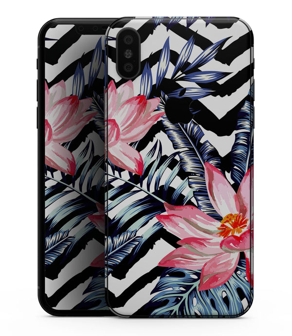 Vivid Tropical Chevron Floral v1 - iPhone XS MAX, XS/X, 8/8+, 7/7+, 5/5S/SE Skin-Kit (All iPhones Available)