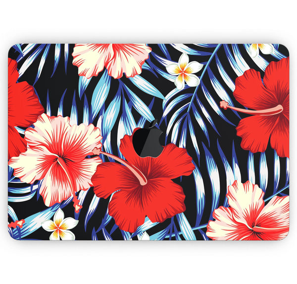 "Vivid Tropical Red Floral v1 - Skin Decal Wrap Kit Compatible with the Apple MacBook Pro, Pro with Touch Bar or Air (11"", 12"", 13"", 15"" & 16"" - All Versions Available)"