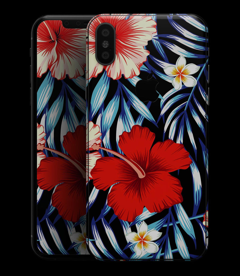 Vivid Tropical Red Floral v1 - iPhone XS MAX, XS/X, 8/8+, 7/7+, 5/5S/SE Skin-Kit (All iPhones Available)