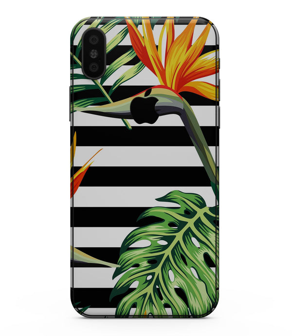 Vivid Tropical Stripe Floral v1 - iPhone XS MAX, XS/X, 8/8+, 7/7+, 5/5S/SE Skin-Kit (All iPhones Available)