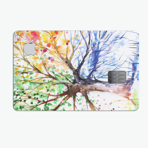 WaterColor Vivid Tree - Premium Protective Decal Skin-Kit for the Apple Credit Card