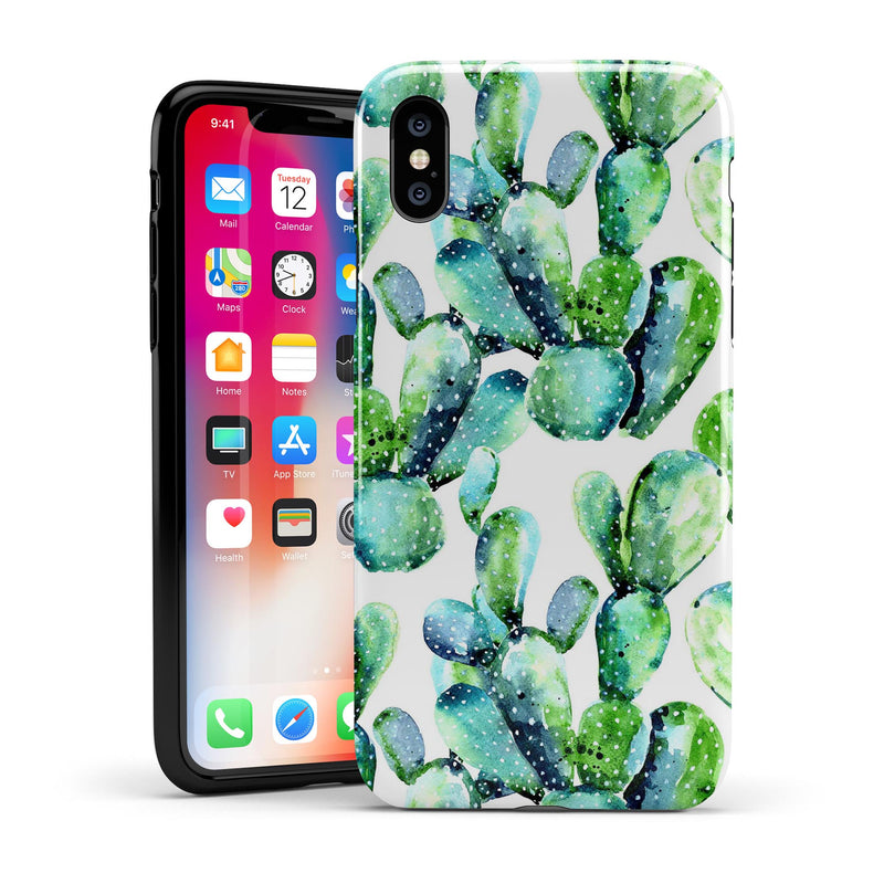 Watercolor Cactus Bloom V1 - iPhone X Swappable Hybrid Case