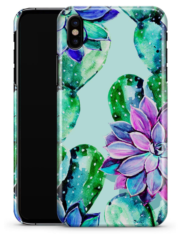 Watercolor Cactus Succulent Bloom V11 - iPhone X Clipit Case