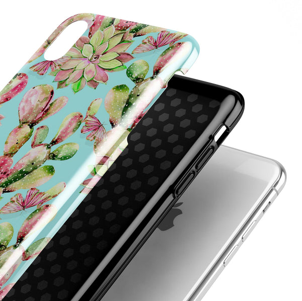 Watercolor Cactus Succulent Bloom V4 - iPhone X Swappable Hybrid Case