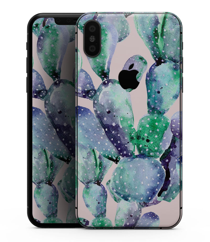 Watercolor Cactus Succulent Bloom V8 - iPhone XS MAX, XS/X, 8/8+, 7/7+, 5/5S/SE Skin-Kit (All iPhones Available)