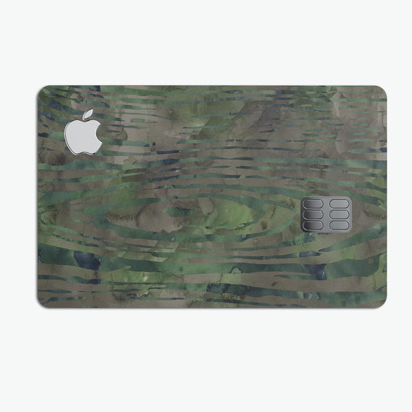 Watercolor Camo Woodgrain - Premium Protective Decal Skin-Kit for the Apple Credit Card