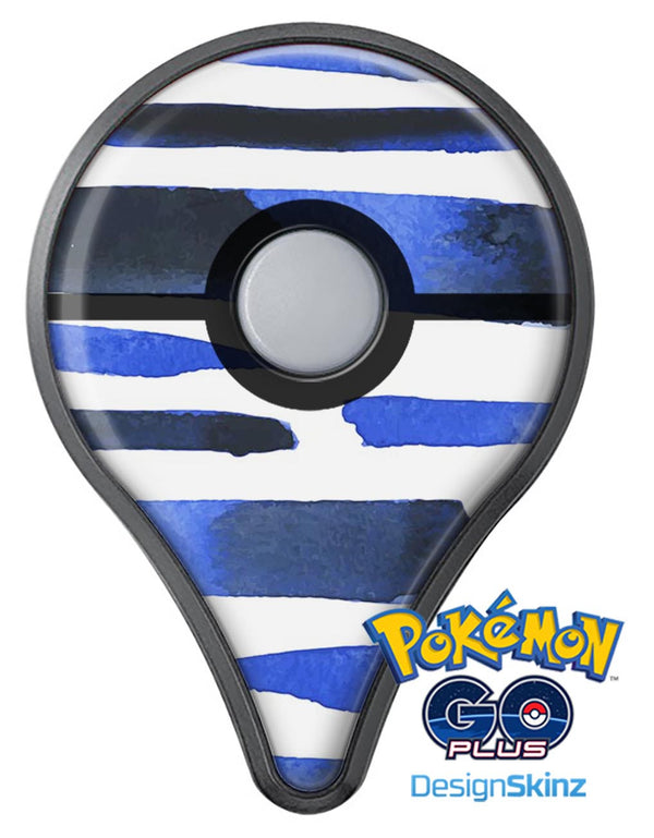 Watercolor Strokes of Blue on Black Pokémon GO Plus Vinyl Protective Decal Skin Kit