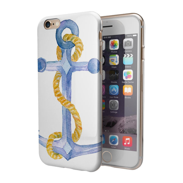 Watercolored Anchor with Rope iPhone 6/6s or 6/6s Plus 2-Piece Hybrid INK-Fuzed Case