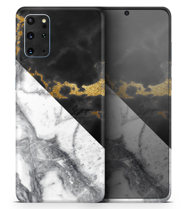 White-Black Marble & Digital Gold Foil V1 2 - Skin-Kit for the Samsung Galaxy S-Series S20, S20 Plus, S20 Ultra , S10 & others (All Galaxy Devices Available)