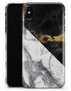 White-Black Marble & Digital Gold Foil V1 - iPhone X Clipit Case