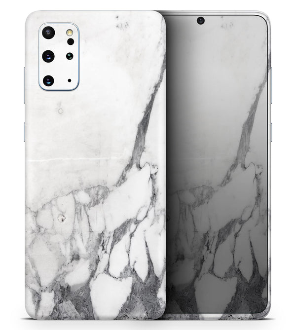 White & Grey Marble Surface V3 2 - Skin-Kit for the Samsung Galaxy S-Series S20, S20 Plus, S20 Ultra , S10 & others (All Galaxy Devices Available)