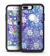 White Abstract Flowers Over Purple and Blue Cloud Mix  - iPhone 7 or 7 Plus Commuter Case Skin Kit