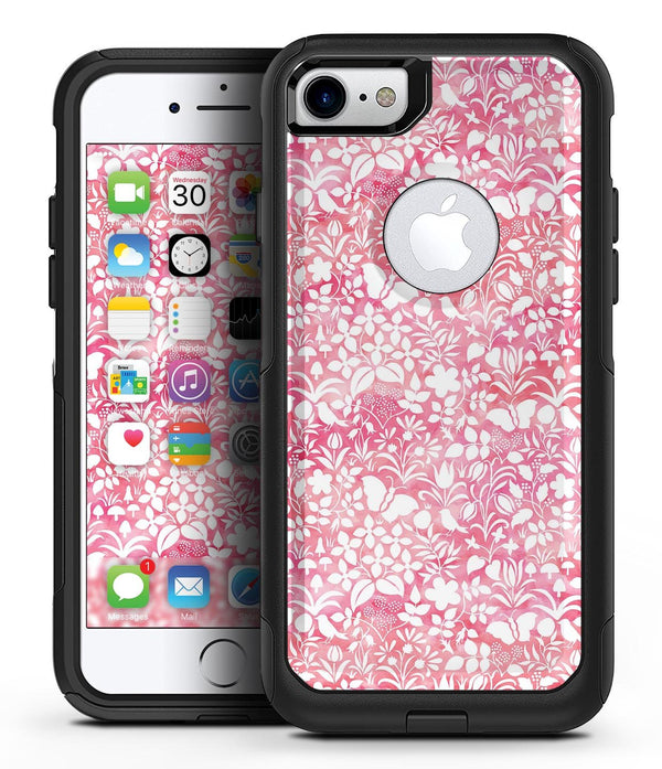 White Butterflies and Flowers on Pink and Red Watercolor Pattern - iPhone 7 or 8 OtterBox Case & Skin Kits