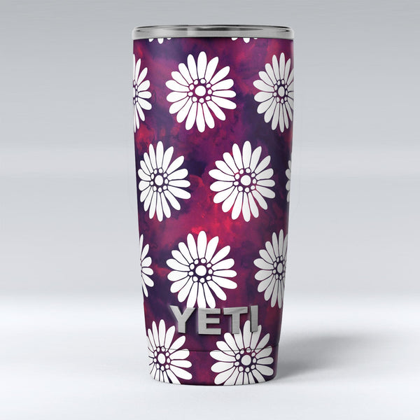 White_Floral_Pattern_Over_Red_and_Purple_Grunge_-_Yeti_Rambler_Skin_Kit_-_20oz_-_V1.jpg