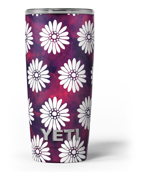 White_Floral_Pattern_Over_Red_and_Purple_Grunge_-_Yeti_Rambler_Skin_Kit_-_20oz_-_V3.jpg