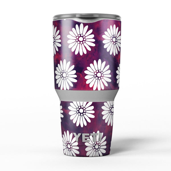 White_Floral_Pattern_Over_Red_and_Purple_Grunge_-_Yeti_Rambler_Skin_Kit_-_30oz_-_V5.jpg