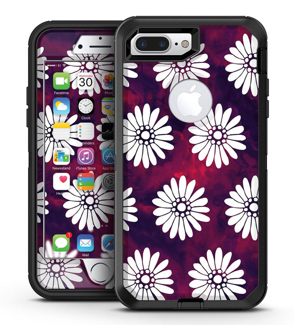 White Floral Pattern Over Red and Purple Grunge - iPhone 7 Plus/8 Plus OtterBox Case & Skin Kits