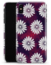 White Floral Pattern Over Red and Purple Grunge - iPhone X Clipit Case